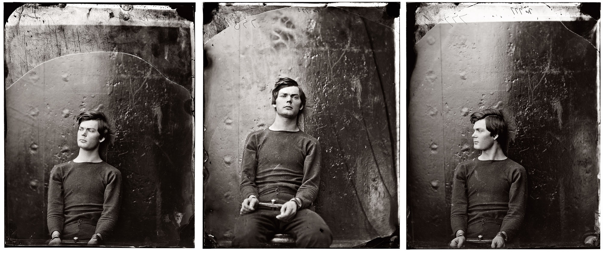 Three views of Lewis Payne (a.k.a. Lewis Powell) in April 1865, three months before his execution by hanging, wearing the same sweater.