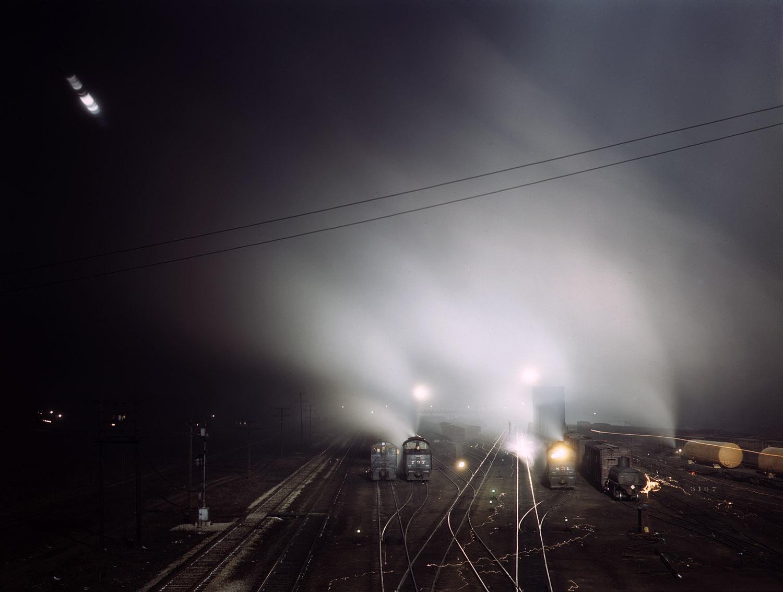 Santa Fe R.R. yard at night, Kansas City, Kansas. March 1943.
