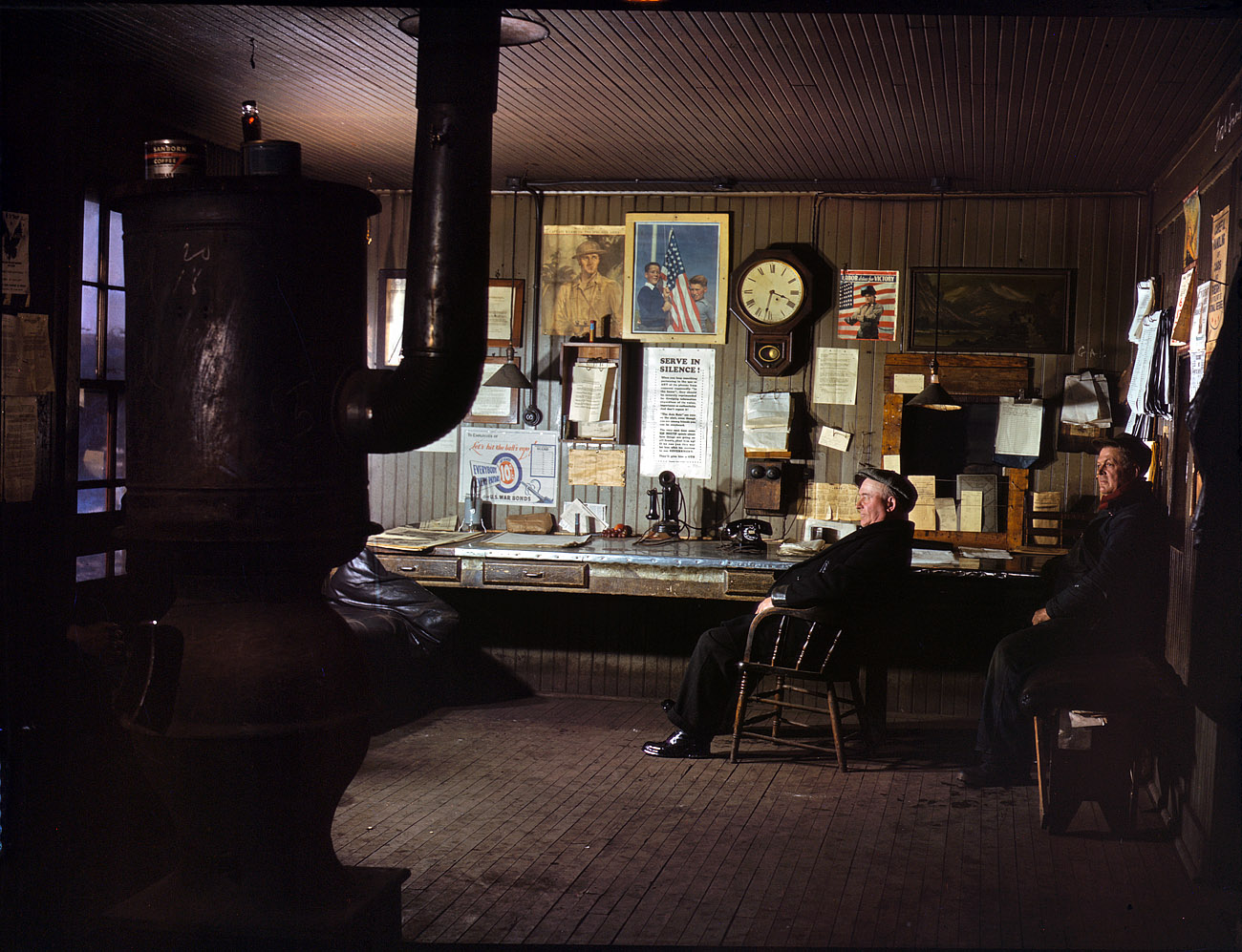 December 1942. A winter afternoon in the North Proviso yardmaster's office, Chicago & North Western Railroad.