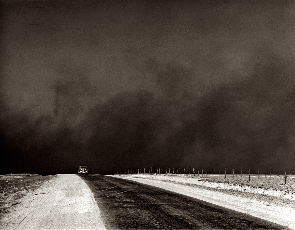 March 1936.  Heavy black clouds of dust rising over the Texas Panhandle.