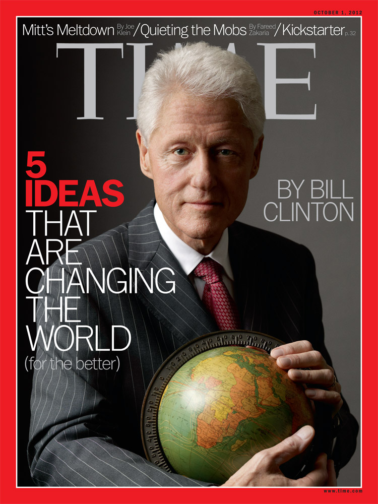 The cover of the Oct. 10, 2012 issue of TIME, featuring Bill Clinton photographed by Mark Seliger and prop styling by Rob Strauss.