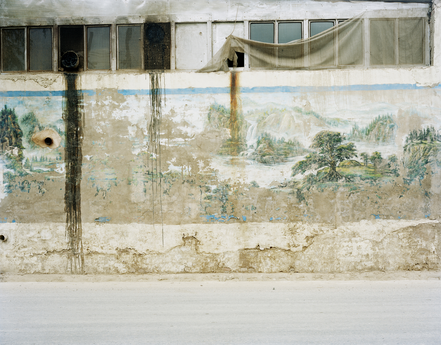 Landscape painting on a wall, Gansu province.