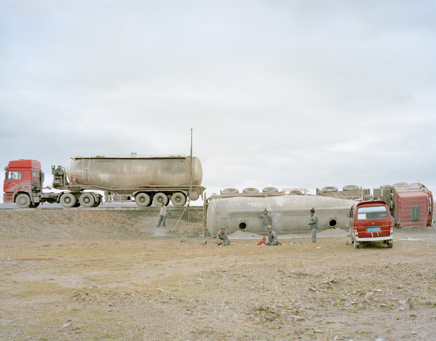 Overturned cement truck, Qinghai province.
