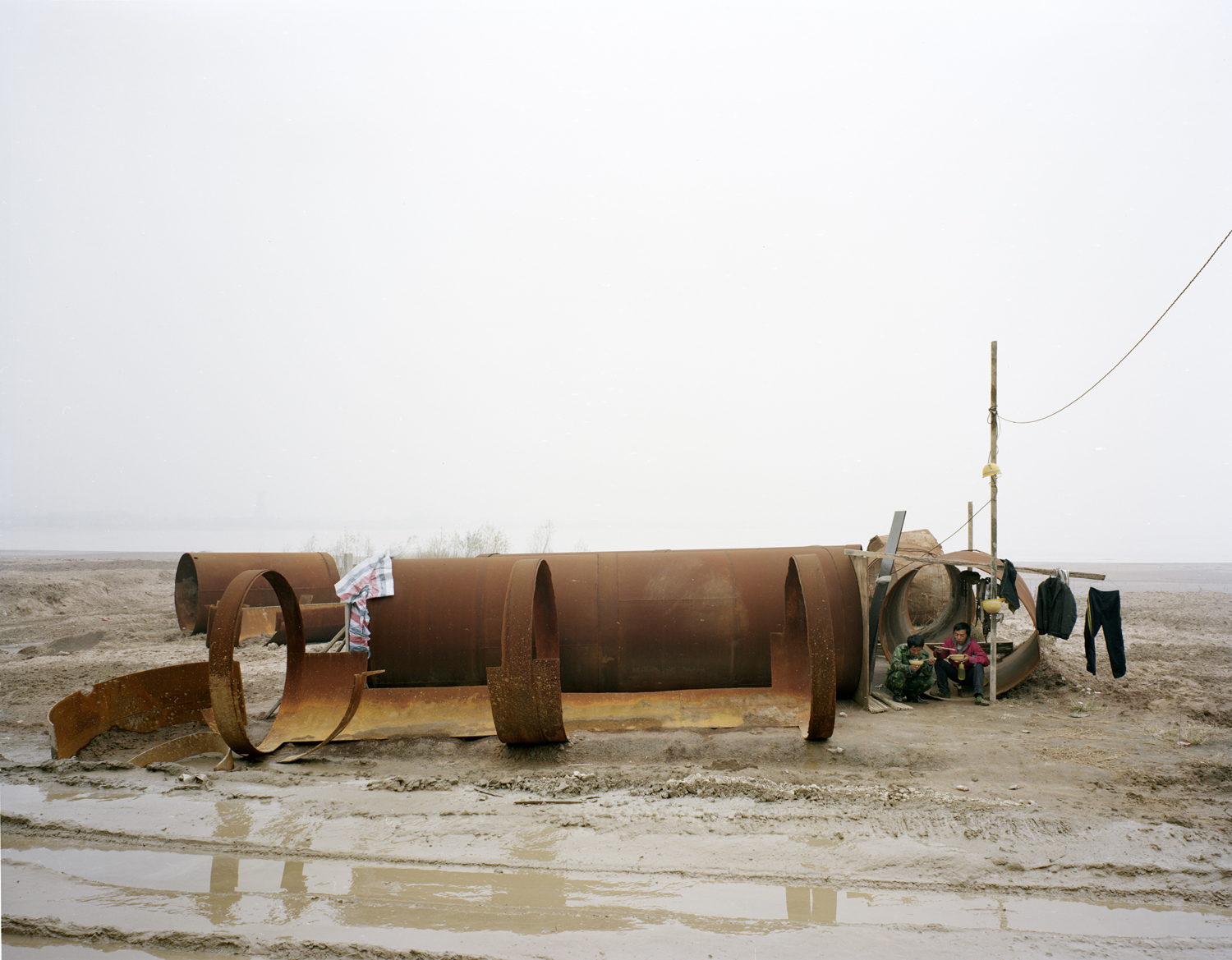 People living in an iron pipe, Shaanxi province.