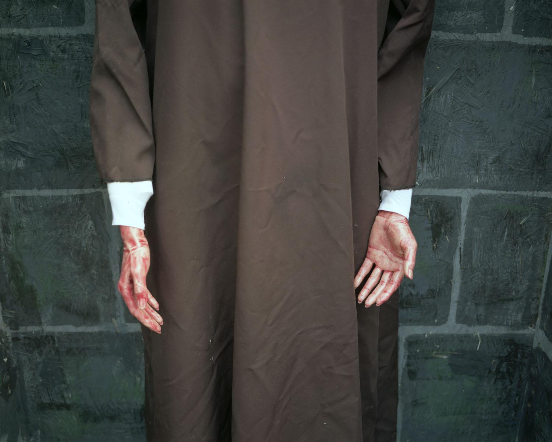 Bloody hands                               Haunted Graveyard, Bristol, Conn., 2004