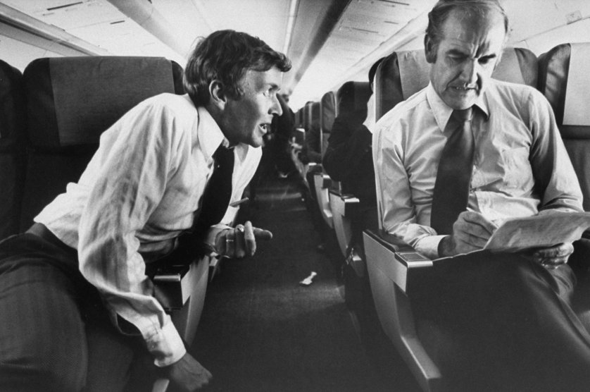 George McGovern (right) on his campaign airplane, 1972.