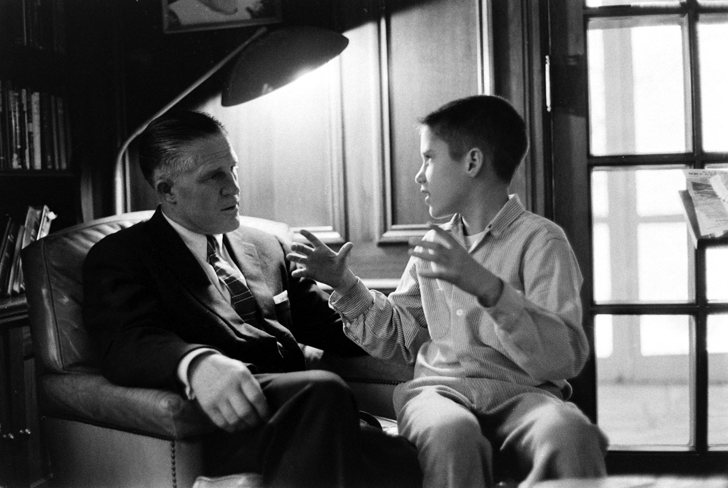 George Romney with his son, Mitt, 1958.