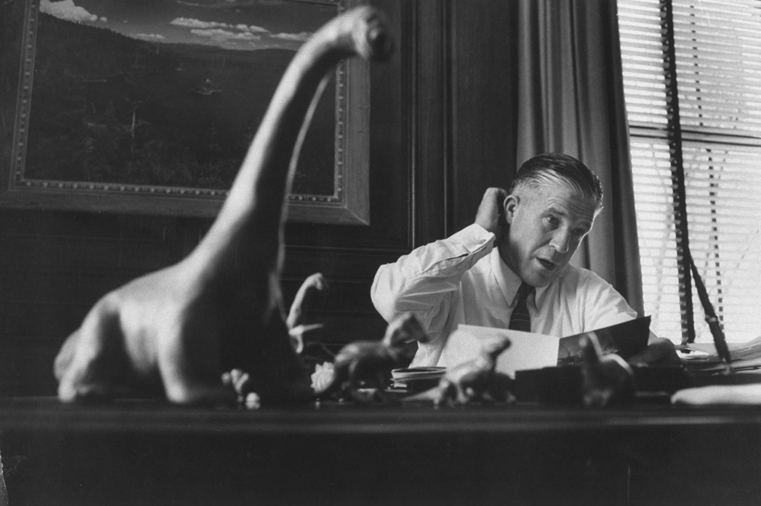 <b>Caption from LIFE.</b> On desk George Romney keeps prehistoric animals to remind him of favorite 'big-car' analogy. 'Some dinosaurs had a 70-foot wheelbase and huge fuel consumption. The principal factor in their extinction was the fact that they got so big they were unable to live.'