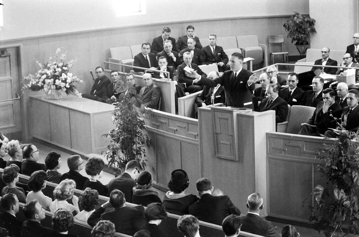 George Romney officiates during a Mormon service, Michigan, 1962.