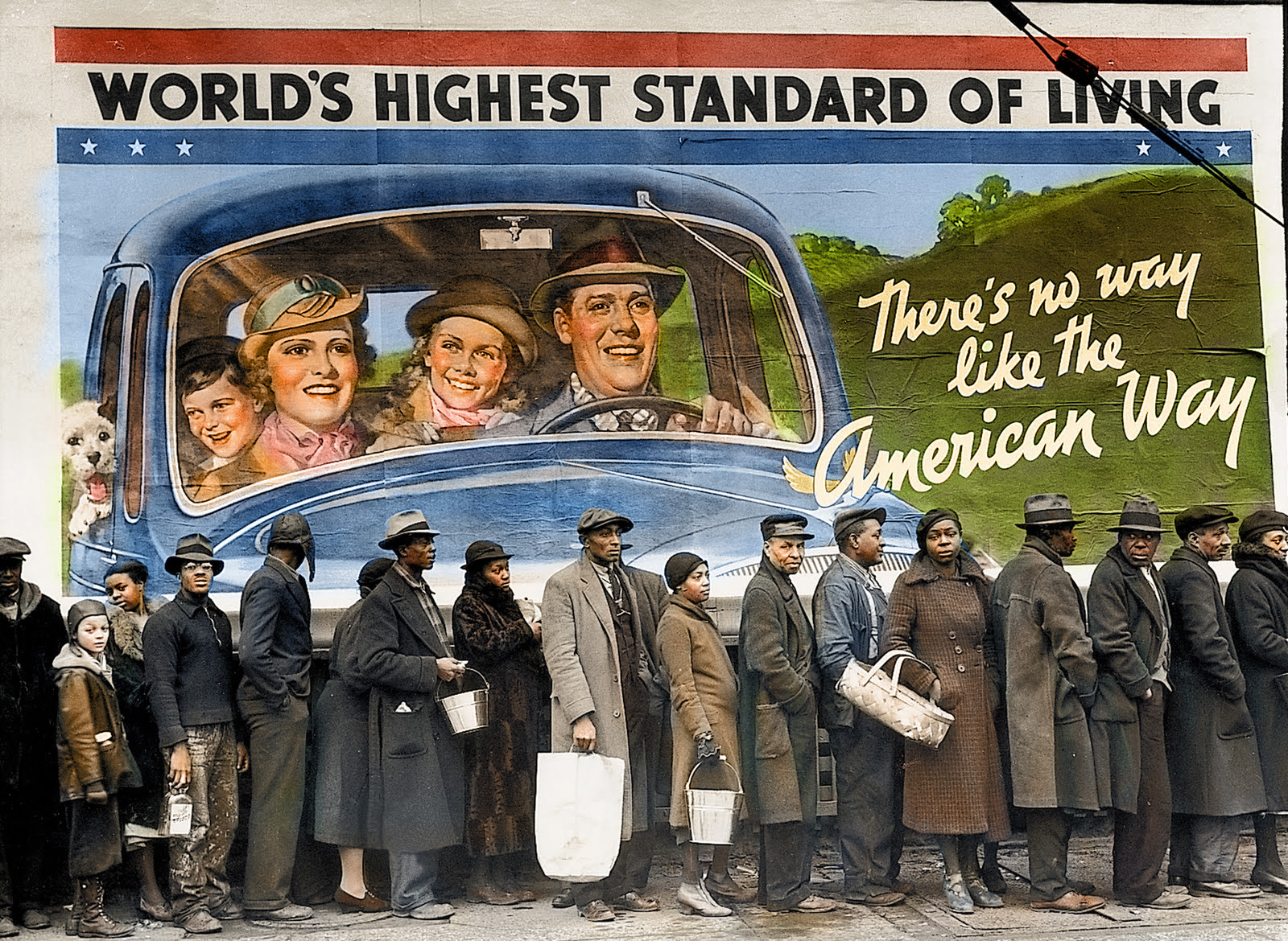 Circa 1937. African American flood victims lining up to get food and clothing from a relief station in front of a billboard ironically proclaiming 'World's Highest Standard of Living — There's No Way Like the American Way.'