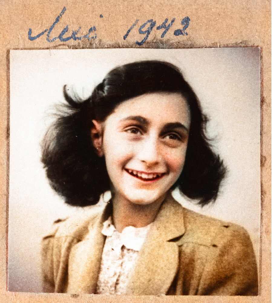 A portrait of Anne Frank (1929-1945) from her own photo album.