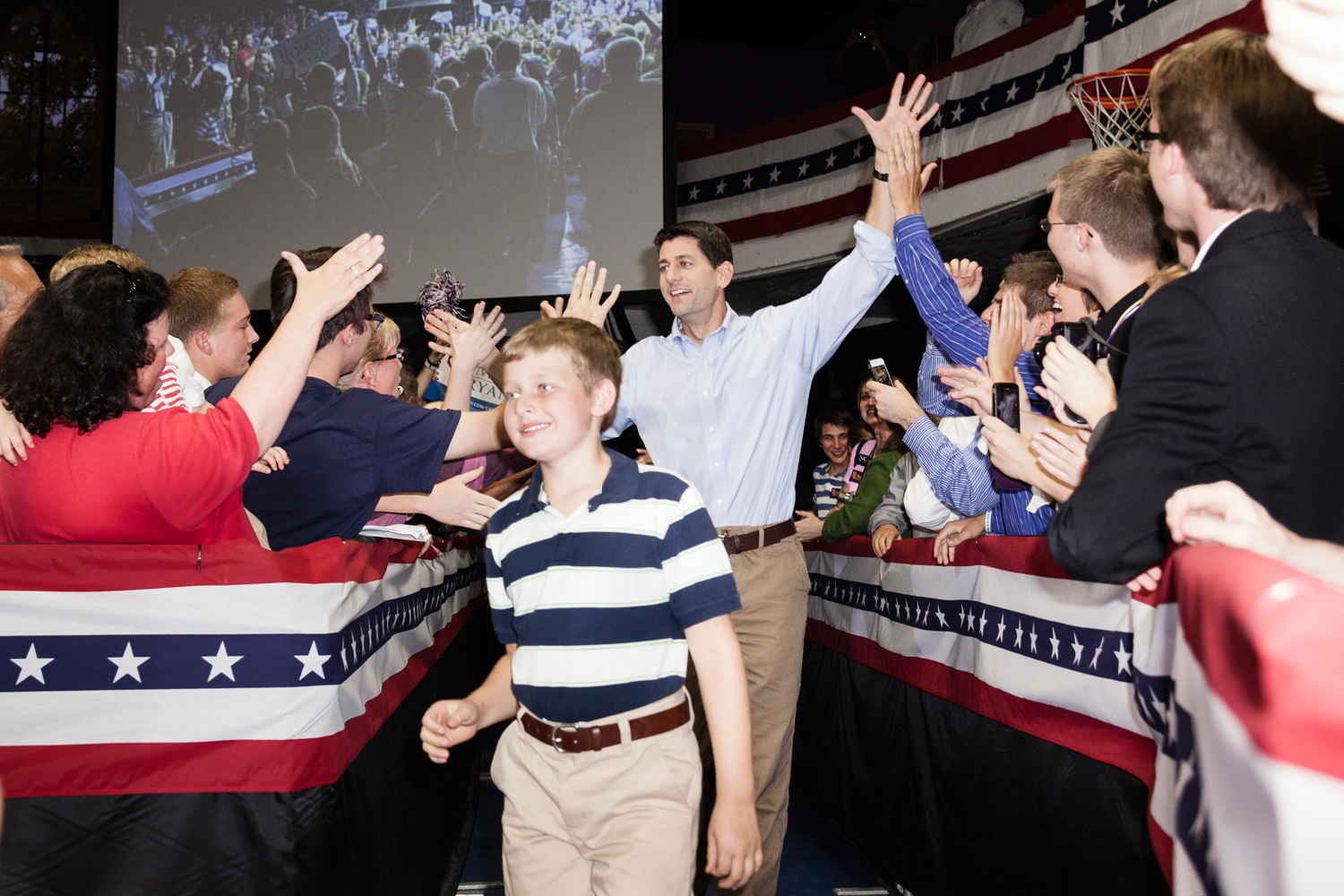 Paul Ryan and his family arrive at the Dubuque Victory Rally and Bus Tour Kickoff in Dubuque, Iowa. The event was held at the Loras College Fieldhouse. Oct. 1, 2012.