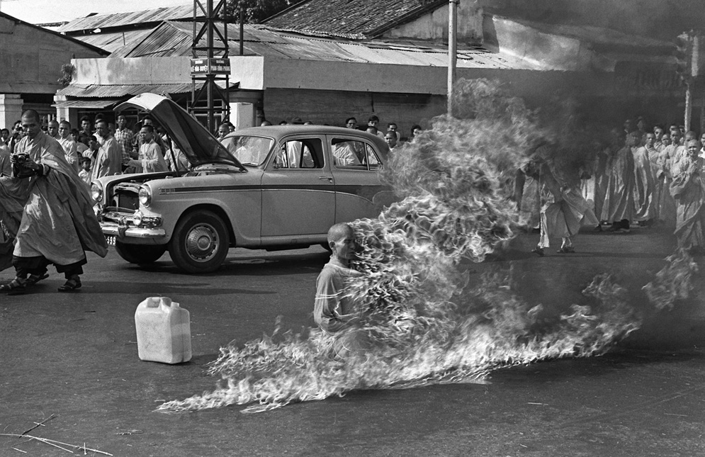 On June 11, 1963, Quang Duc, a Buddhist monk, burns himself to death on a Saigon street to protest alleged persecution of Buddhists by the South Vietnamese government.