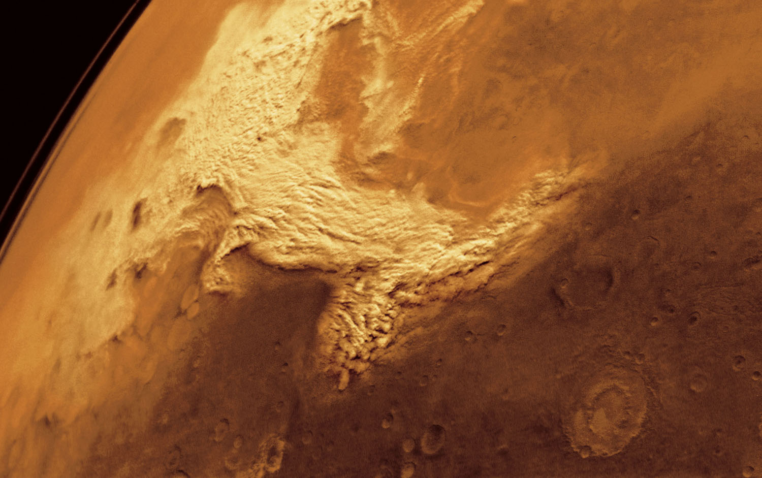 Dust storm west of Argyre in Thaumasio.                               Multi-frame mosiac                               Viking Orbiter 2, Feb. 17, 1977
