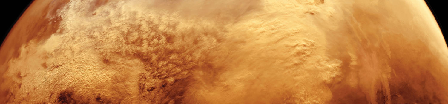 Mars is the only planet that has global dust storms, some of which last for months. The giant Valles Marineris canyon system is to the right.                               Multi-frame mosaic                               Viking Orbiter 2, Feb. 19, 1977