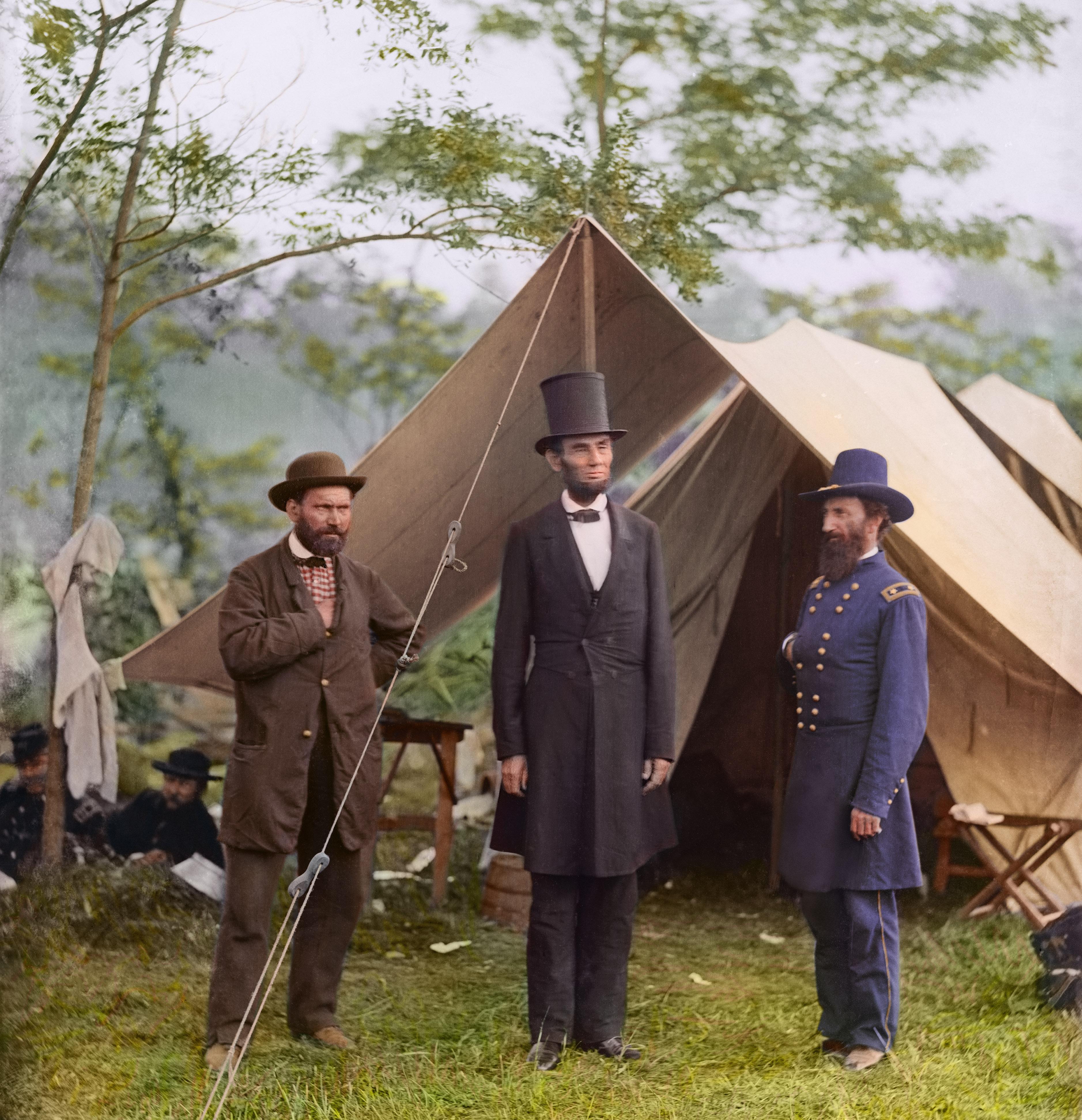 1862. Allan Pinkerton, President Lincoln, and Maj. Gen. John A. McClernand at Antietam.
