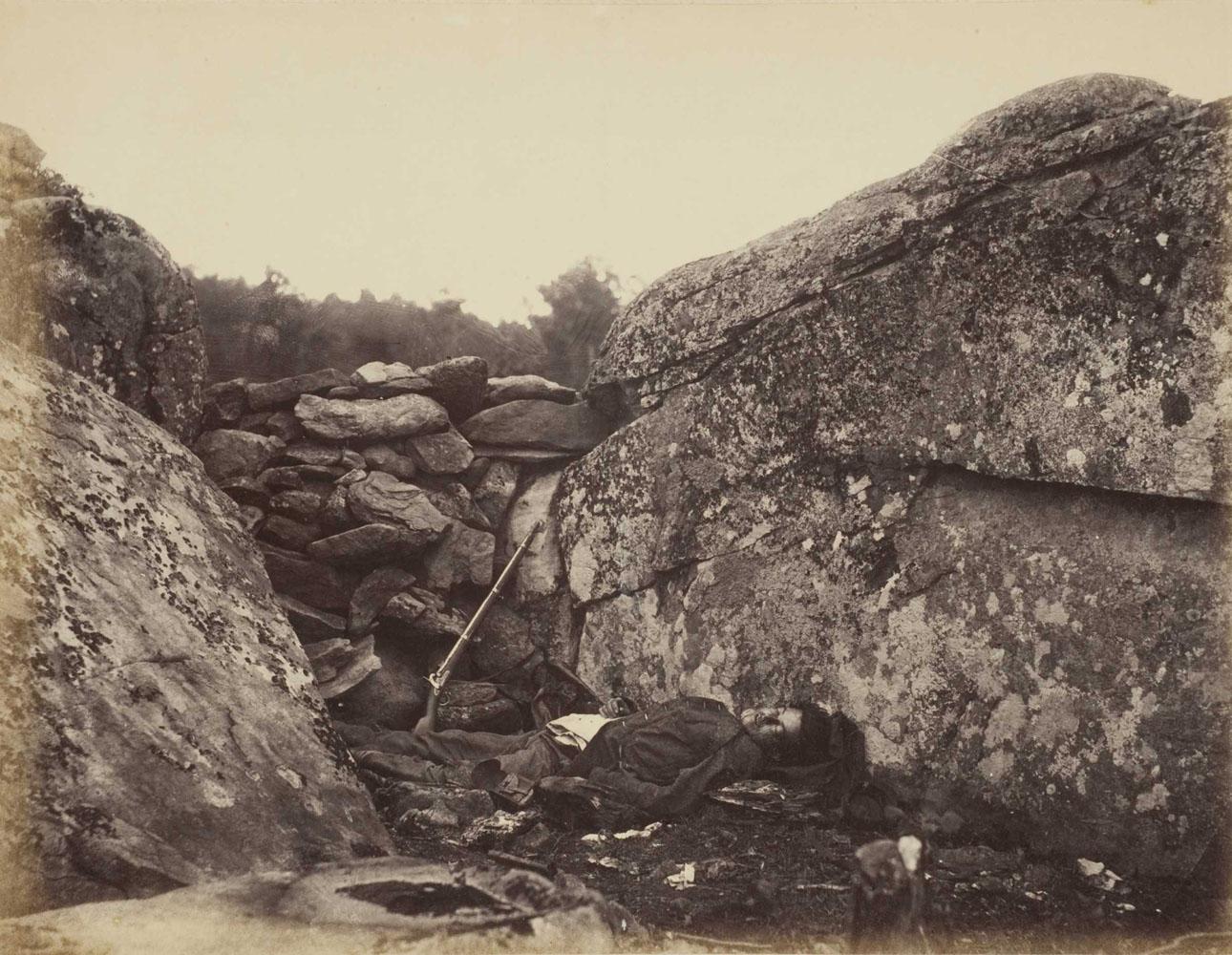 The Home of a Rebel Sharpshooter, Gettysburg, Pennsylvania,                                Plate 41, Vol. 1, Gardner's Photographic Sketch Book of the War                               1863                               Alexander Gardner, American, born Scotland, 1821–1882