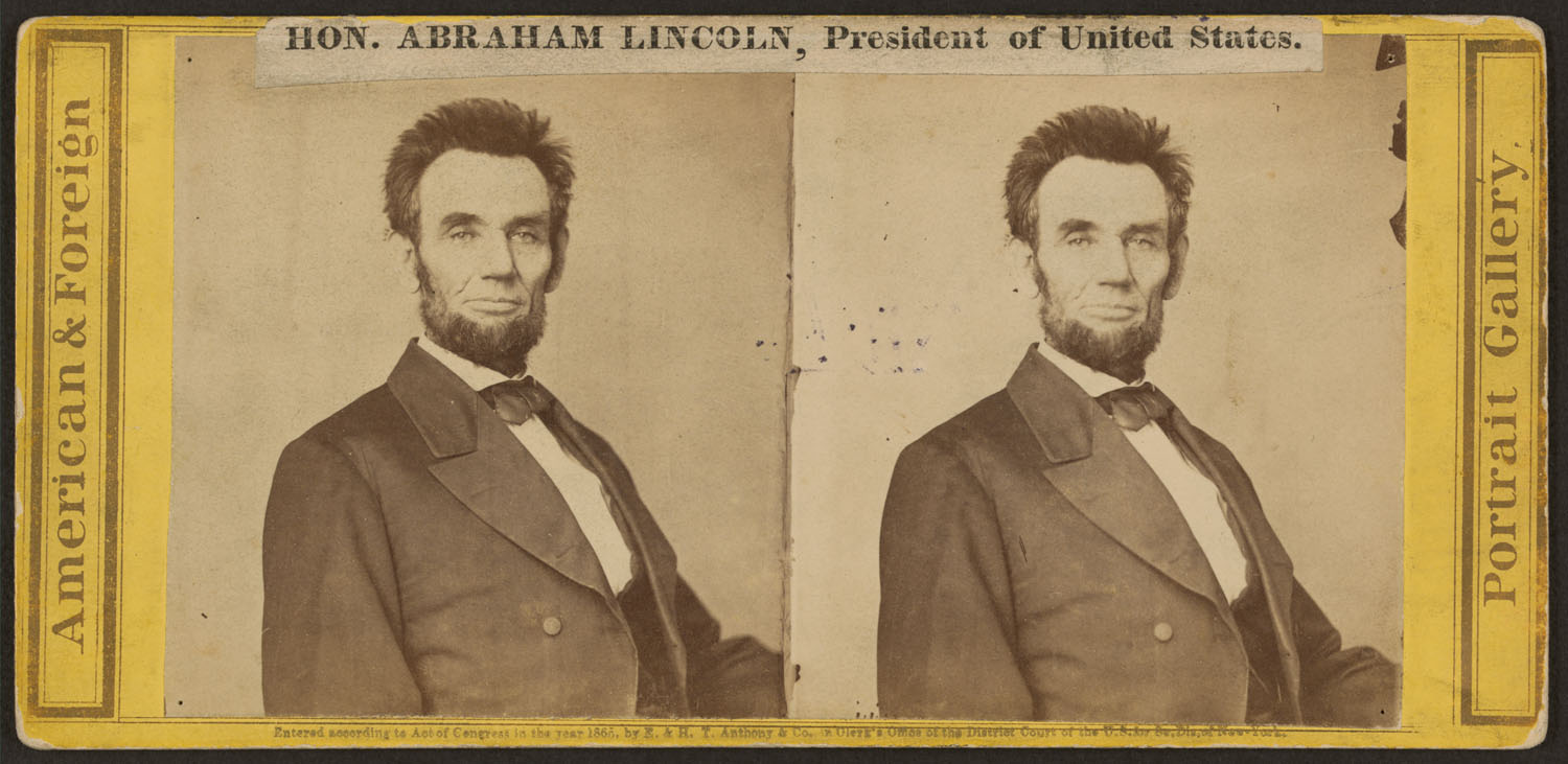 Feb. 1865.  The short haircut was perhaps suggested by Lincoln's barber to facilitate the taking of his life mask by Clark Mills. Lincoln knew from experience how long hair could cling to plaster.