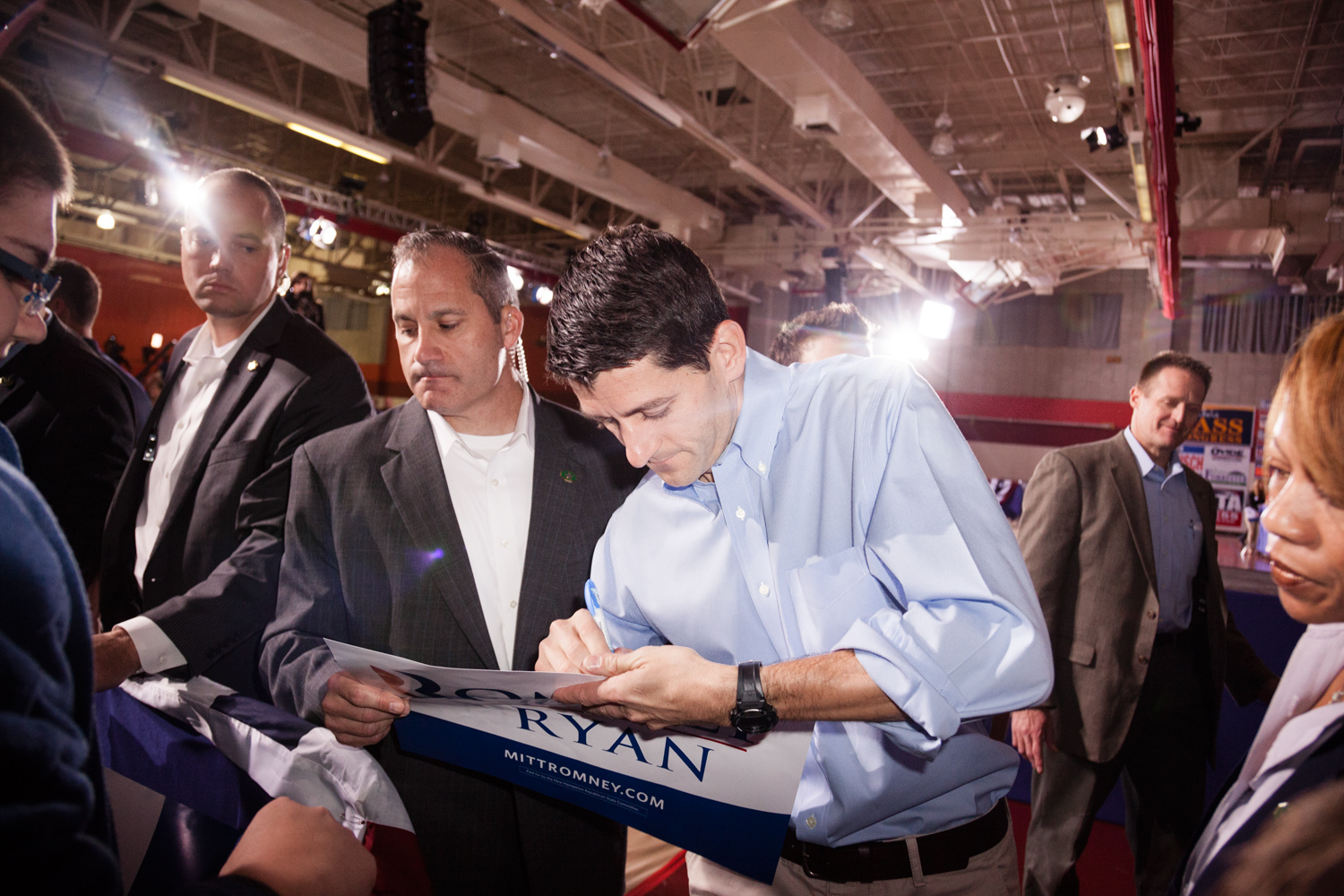 Paul Ryan signs an autograph at the  Earn It  rally in Derry, N.H. Sept. 29, 2012.