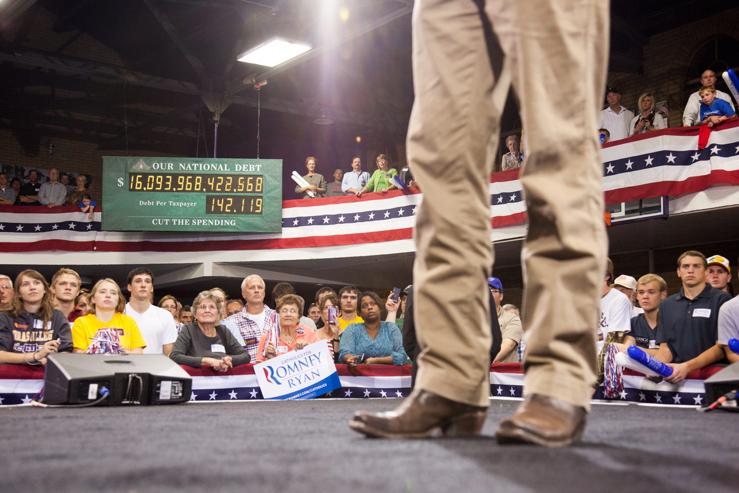 Paul Ryan onstage at the Dubuque Victory Rally and Bus Tour Kickoff in Dubuque, Iowa. Oct. 1, 2012.