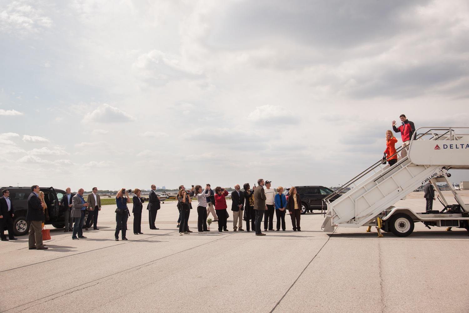 Paul Ryan and his wife exit their plane in Colombus, Ohio. Sept. 29, 2012.