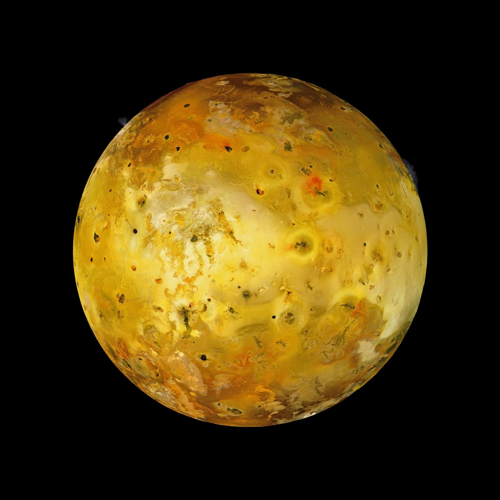 The remaining images in this gallery are from Michael Benson's book, Beyond: Visions of the Interplanetary Probes.                               Jupiter's innermost large moon, Io is the most volcanic object in the Solar System. The gravitational pull of Jupiter squeezes the moon, forcing lava to the surface in eruptions from over 400 active volcanoes. Some of Io's volcanic centers have bright and colorful flows, perhaps due to sulfur.                                Multi-frame mosaic                                Galileo, July 3, 1999