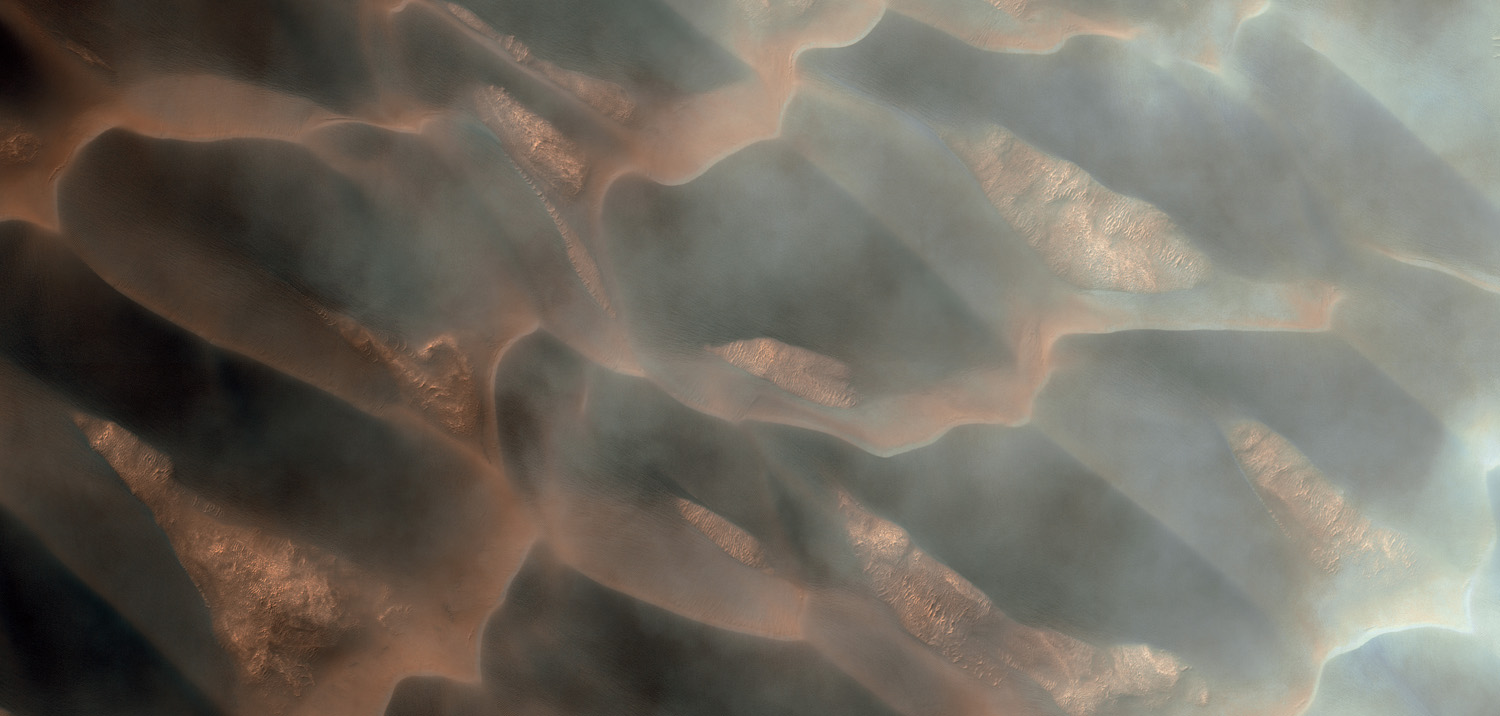 North polar dunes through clouds. In places material has slipped from the dune crests and collected in their troughs—probably due to seasonal thawing.                               Mars Reconnaissance Orbiter, Oct. 26, 2008