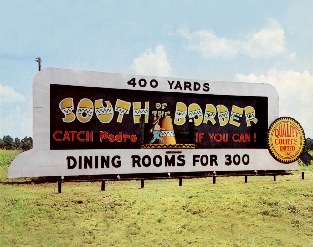 South of the Border, Highway 301 & 501, Dillon, South Carolina, August 7, 1968, 2012                               Doug Rickard sourced thousands of vintage postcards on Ebay and digitally manipulated them to be reminiscent of Shore's original photographs.
