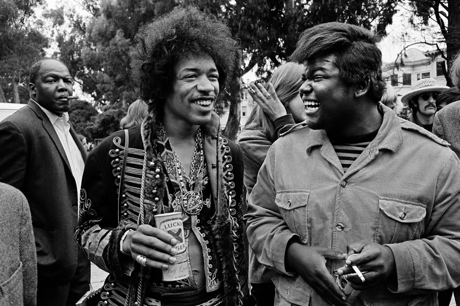 Jimi Hendrix and Buddy Miles at the Panhandle Free Concert, San Francisco, 1967