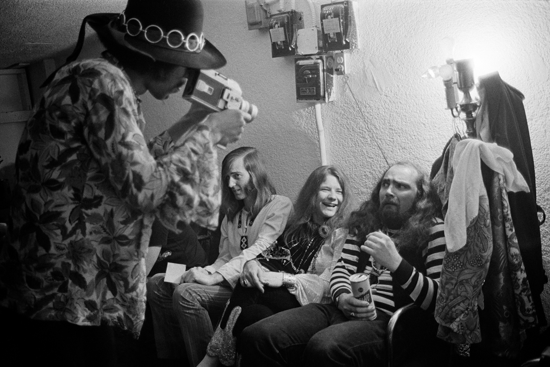 Jimi Hendrix films Janis Joplin and Sam Andrew, Joplin's guitar player, Winterland Ballroom, San Francisco, 1968.