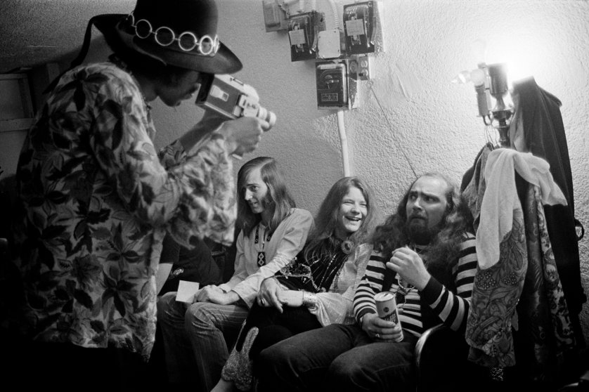Image: Hendrix films Janis Joplin and Sam Andrew, Joplin's guitar player in Big Brother. Winterland, 1968.