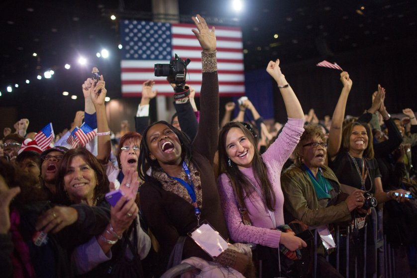 Image: Nov. 6, 2012. Supporters of U.S. President Barack Obama celebrate his victory at his election night rally in Chicago.