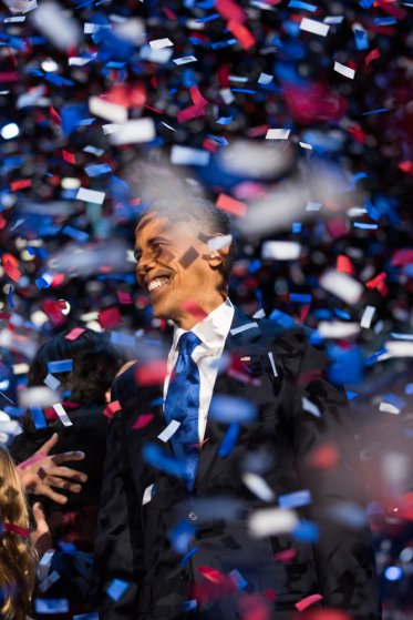 Image: Nov. 6, 2012. President Barack Obama smiles through a storm of confetti at his election night victory party in Chicago.