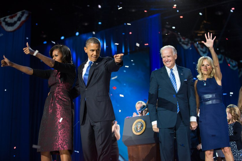 Image: Nov. 6, 2012. First Lady Michelle Obama, President Barack Obama, Vice President Joe Biden and Jill Biden at the President's election night victory party in Chicago.
