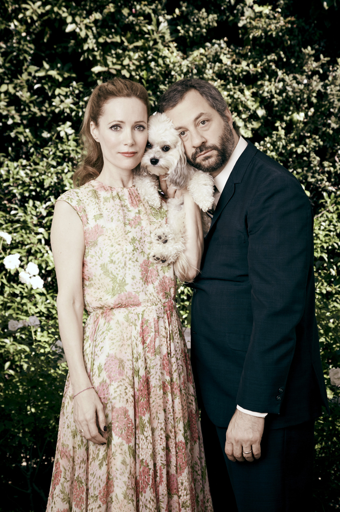 Leslie Mann, Actress (L) and husband Judd Apatow, Filmmaker. From  Working from Home,   October 22, 2012 Issue.