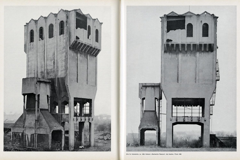 Anonyme Skulpturen – Eine Typologie technischer Bauten                               Book spread, Art-Press Verlag                               Düsseldorf, Germany, December 1970