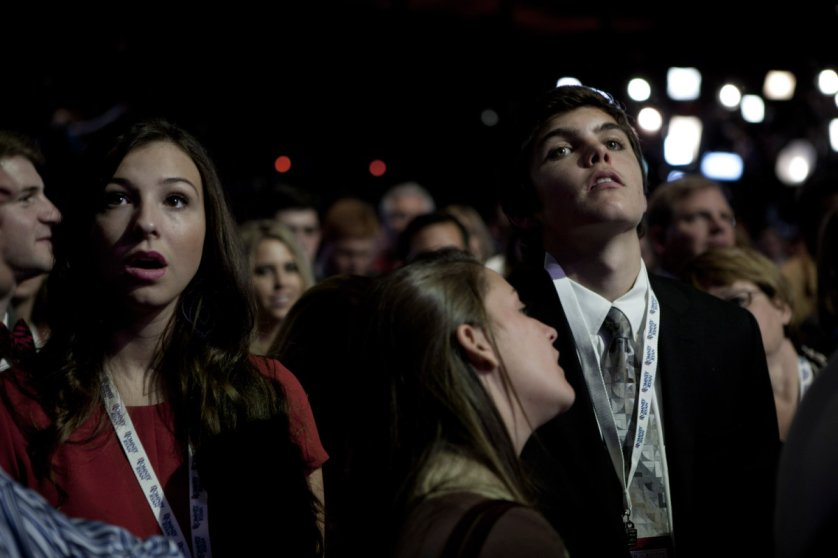 Nov. 6, 2012. Supporters of Mitt Romney look on as they learn the results of the election at the Boston Convention Center.