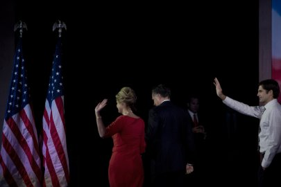 Nov. 7, 2012. Ann Romney and Mitt Romney leave the stage of the Boston Convention Center after his concession speech.