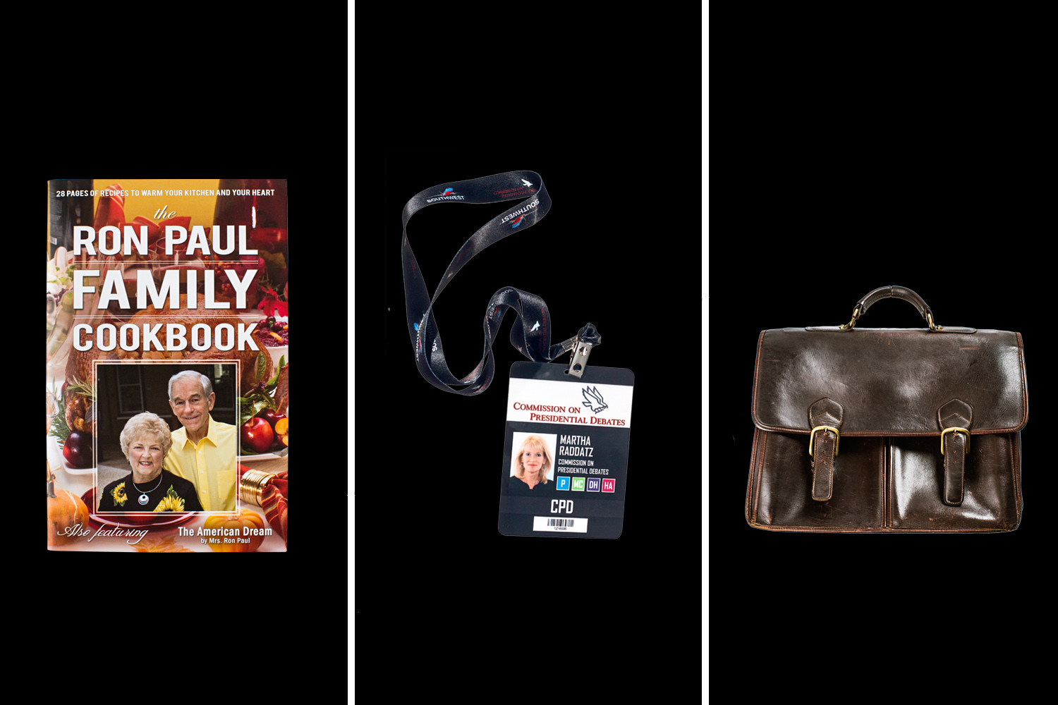 Ron Paul Cookbook                               Sold by the campaign of the three-time presidential candidate.                                                              Martha Raddatz's Press Pass                               Martha Raddatz of ABC won high marks for keeping the always aerobic Biden and the wonky Ryan focused during their Oct. 11 debate.                                                               Jon Huntsman's Briefcase                                The former Utah ­governor and ambassador to China was rarely without this Aston leather briefcase on the campaign trail.