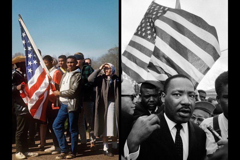 Images: left: Selma Marchers On the Road, 1965, right: Martin Luther King Jr., Selma March 1965