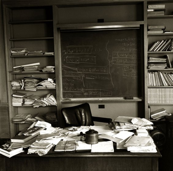 Albert Einstein's office at the Institute for Advanced Study in Princeton, New Jersey, photographed on the day of his death, April 18, 1955.