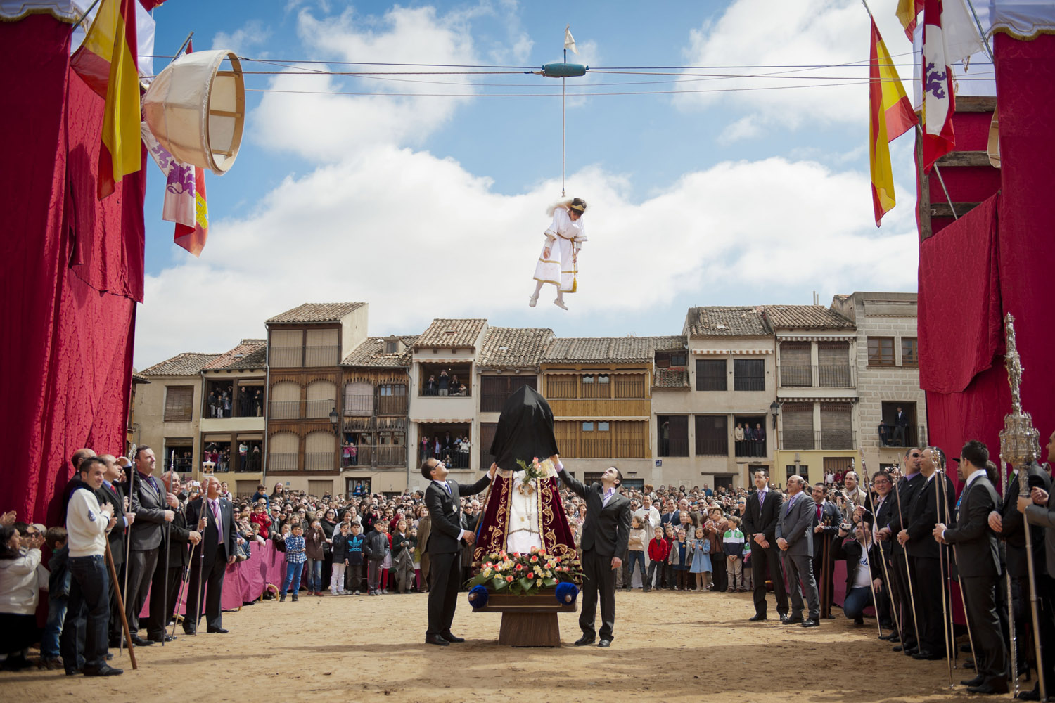 April 8, 2012. Pablo Leal Requejo plays the role of an angel during the 'Bajada del Angel' Eastern Holy Week celebration in Penafiel, Spain.
