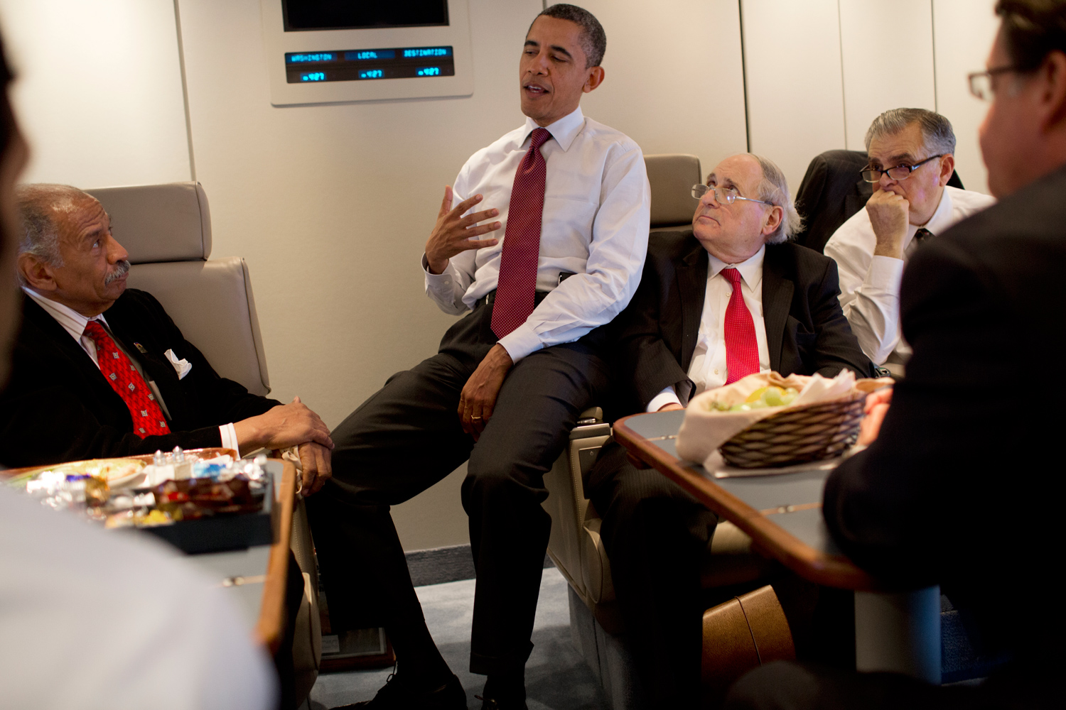 After re-boarding Air Force One, the President meets with Michigan Congressman John Conyers Jr., Michigan Senator Carl Levin and U.S. Transportation Secretary Ray LaHood.