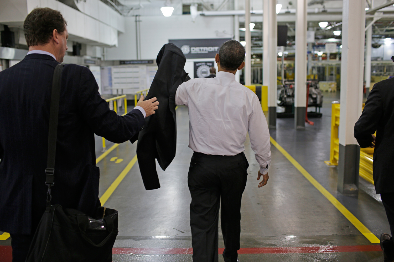 After speaking to the crowd and touring the plant's production facilities, Obama prepares to depart.