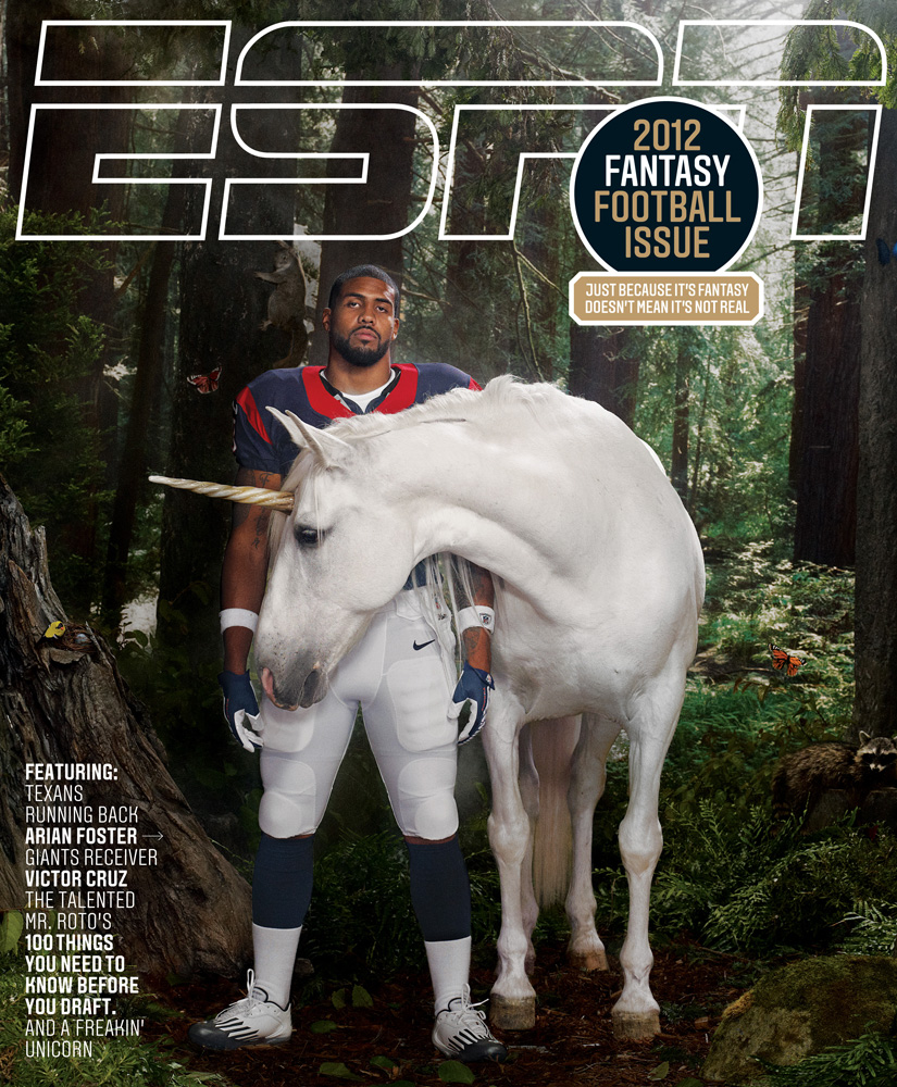 ESPN The Magazine, July 2012. Photograph by Chris Buck.                                                              Up until a couple of days before the shoot there were some serious questions about whether running back Arian Foster would pose with a unicorn. Originally we'd discussed the idea of him riding it, perhaps amongst fluffy clouds, and it was probably that image that made him nervous and led to him back out at first. Senior Photo Editor Stephanie Weed and I discussed a number of alternate ideas that could be brought to Karen Frank and John Korpics, but she also had this strange confidence that it would eventually work out with the unicorn. And, of course she was right.The shoot itself was comparatively easygoing. We had a great team of set builders (John Geary and co.) who put together our enchanted forest, but it was only once the unicorn itself was brought in that it all came together. One of the cool things about the final image is that we did very little retouching to finish it off, as it was pulled together so nicely on set.-Chris Buck, Photographer                                                              Chad Millman, Scott Burton, John Korpics and I met [at ESPN] to discuss the Fantasy Football cover. The action hero approach, we felt, had been done over and over again and we wanted to come up with something more playful and fresh. When we started to explore the idea of fantasy, someone blurted out:  Well, we've always wanted to shoot an athlete riding a unicorn.  We pounced on that idea, expanding it to include an enchanted forest setting. The next challenge was convincing our cover subject, Arian Foster, to play along. After some back and forth, and with the caveat that he would not ride the unicorn, Foster agreed.                                                              The next step was getting Chris Buck on board as the photographer. As anyone who's ever worked with Chris knows, he is a great collaborator, and he was full of ideas for 