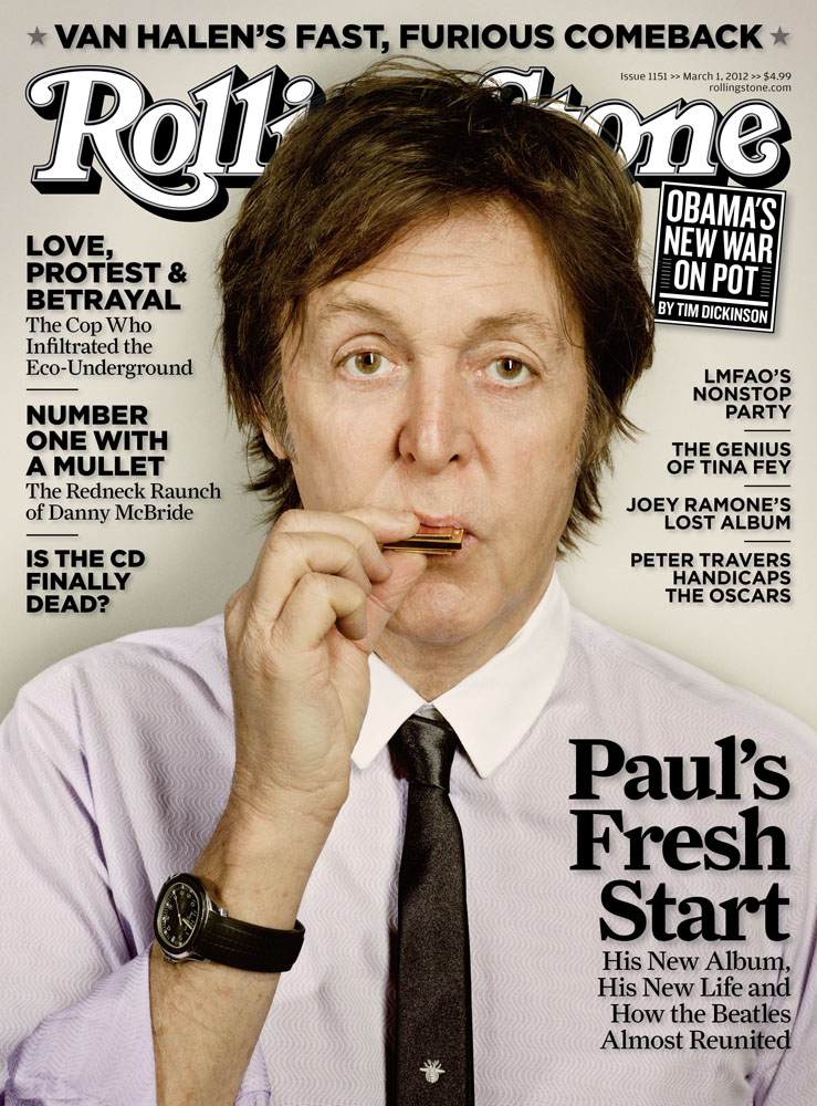 Rolling Stone, March 2012. Photograph by Nadav Kander.Not only living in the same city as Paul, but living only a mile apart, added to the enjoyment and occasion of photographing a Beatle in the very same huge recording studio that they recorded some of their greatest works. When Paul picked up his guitar and sang to me, making up words about me as he sang along, that was a pretty special memorable moment.-Nadav Kander, PhotographerIt's not easy to shoot Paul McCartney mostly because he's been in front of the camera for 50 years, and often the photographs of him come off as contrived, even corny.I really think it captures McCartney's personality in a simple kind of way. There's no pointing at the camera or flashing of the peace sign--the kind of thing you often seen in pictures of him. It's just Paul McCartney being whimsical and playful.-Jodi Peckman, Creative Director, Rolling Stone