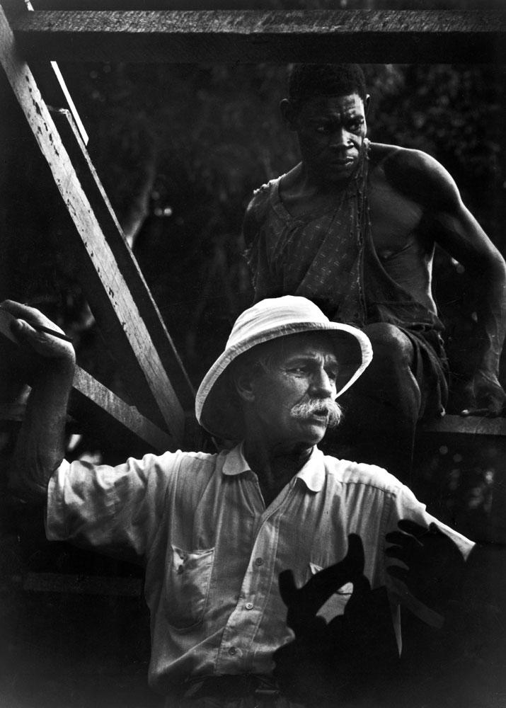 Albert Schweitzer supervises the building of a hospital in Gabon, West Africa, 1954.