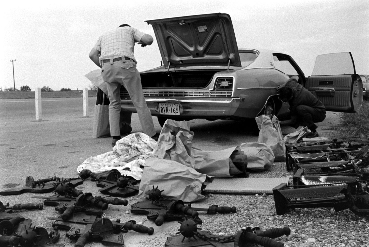 "Scene from U.S. Customs' anti-drug smuggling effort, ""Operation Intercept,"" along the U.S.-Mexico border, 1969."