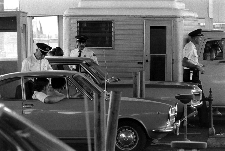 "Scene from U.S. Customs' anti-drug smuggling effort, ""Operation Intercept,"" along the U.S.-Mexico border, 1969."