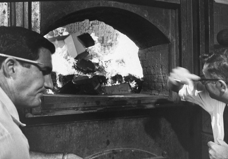 Seized marijuana burns in a furnace, San Diego, Calif., 1969.